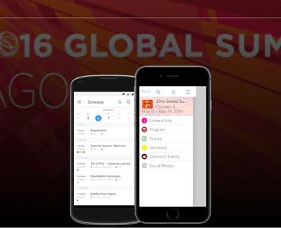 2016 Global Summit mobile app mockups