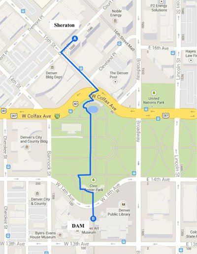 Image of map showing route from the Sheraton to the Denver Art Museum