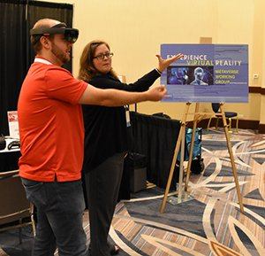 Photo of a virtual reality demonstration at the Technology Exchange