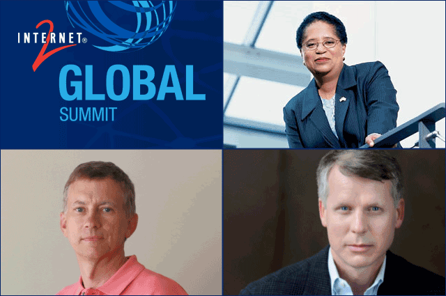 Global Summit banner and keynote speaker photos